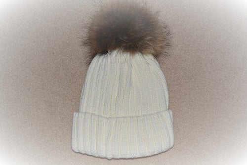 Hat in Cream With Natural Pom Pom