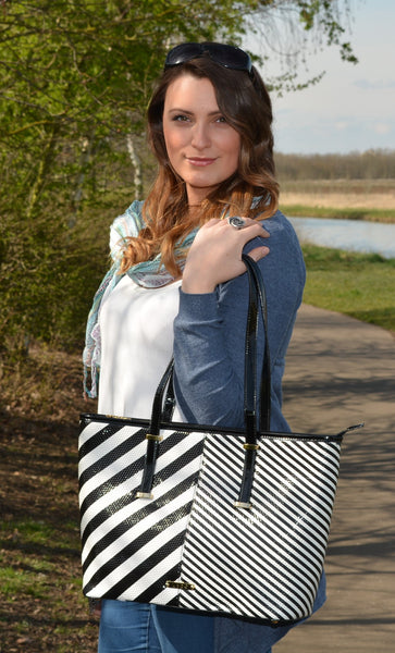 Patent Black & White Tote Bag by LYDC