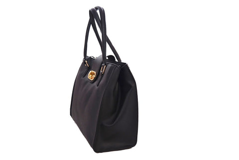 Turnlock Design Black Tote by Gessy