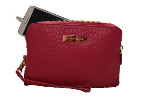 Croc Effect Leather in Pink- Power Purse