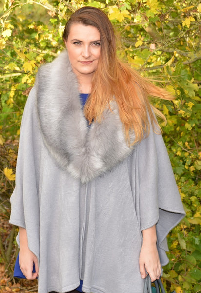 Cape in Dark Grey with Faux Fur Collar