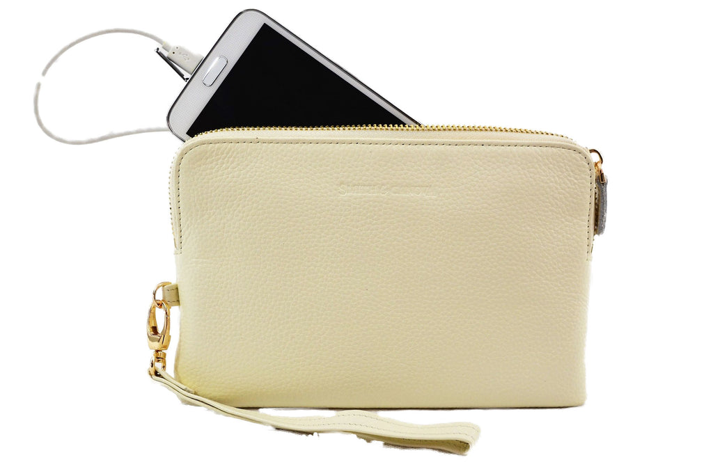 Cream Leather  Power Purse -  A purse that charges your mobile on the move
