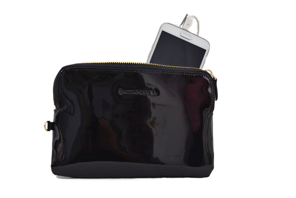 Black Patent Power Purse  -  A purse that charges your mobile on the move!