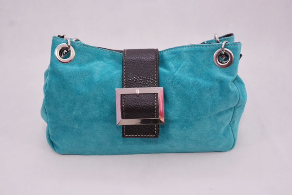 Turquoise Faux Suede with Dark Brown Mock Croc
