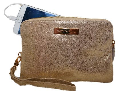 Gold  Coloured Power Purse -  A purse that charges your mobile on the move!
