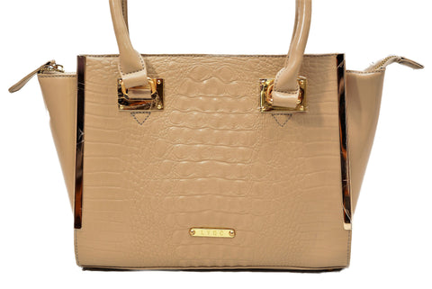 Nude Coloured Croc Effect Tote Design by LYDC