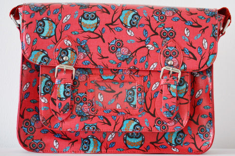 Owl Design Fuschia Satchel