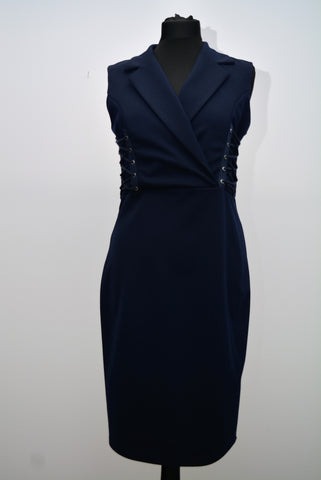 Navy Laces Panel Dress