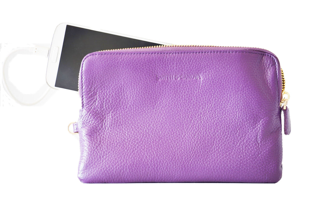 A Purple Leather Power Purse that charges your mobile  on the Move!