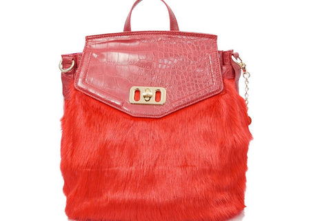Red Faux Fur Backpack Style Croc Effect by LYDC