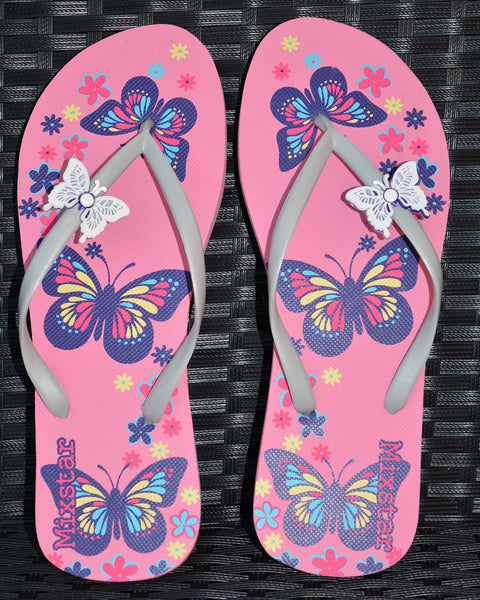 Butterfly Flip Flops in Black