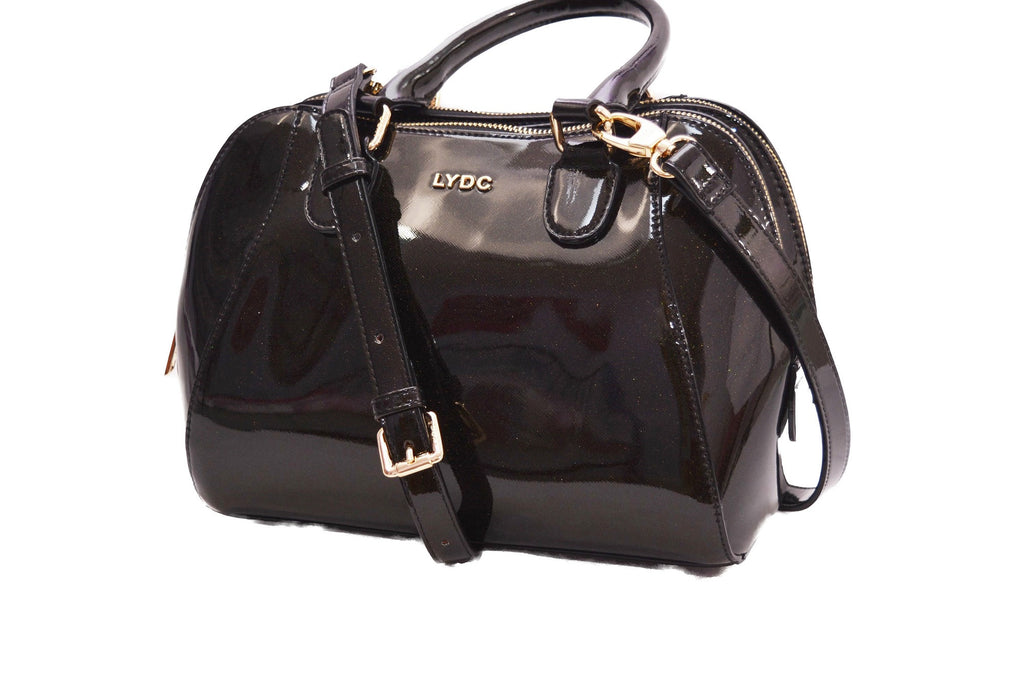 Sparkly Black Double Zipped Patent Handbag by LYDC
