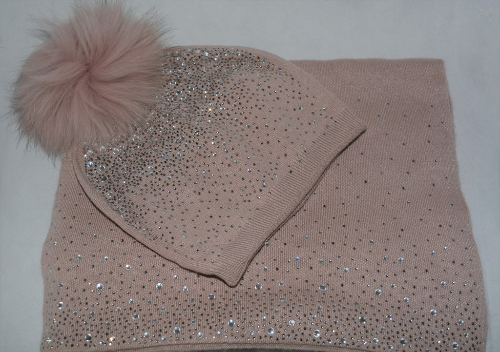 Diamonte Scarf in Blush Pink