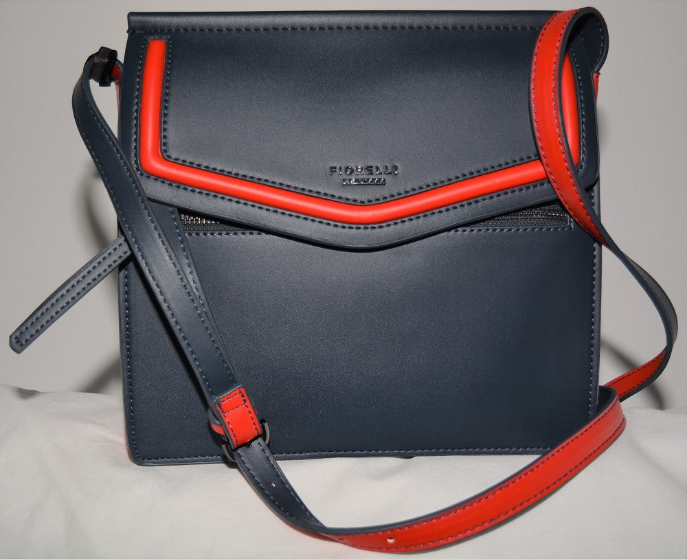 Mia Crossbody in Navy with Red Edging