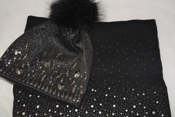 Hat & Diamonte Scarf Set in Black