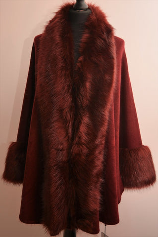 Faux fur Cape Style Jacket in Burgundy
