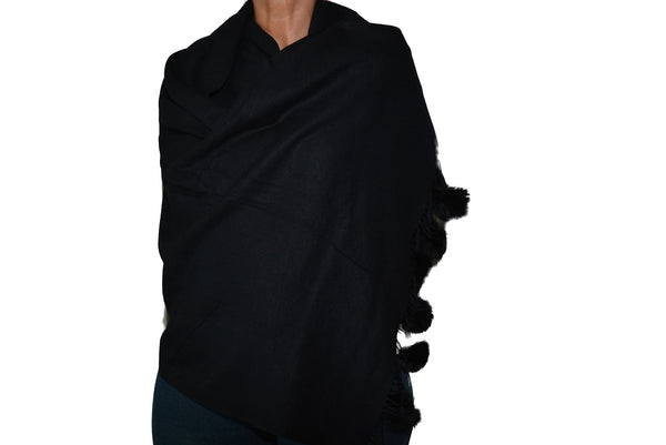 Pashmina with Pom Poms in Black