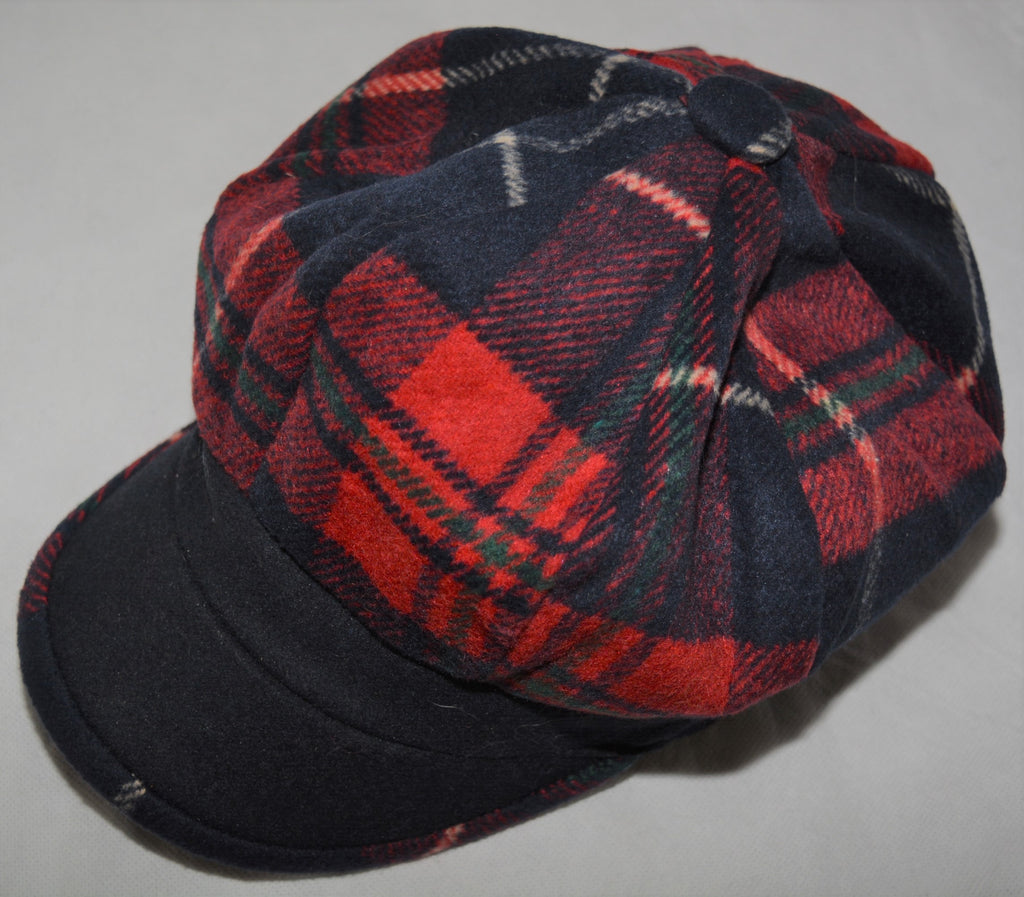 Baker Boy Hat in Navy & Red