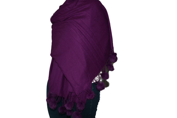 Pashmina in Purple With Pom Poms