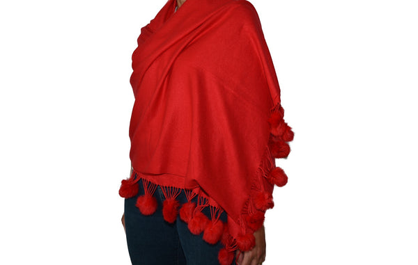 Pashmina With Pom Poms in Red