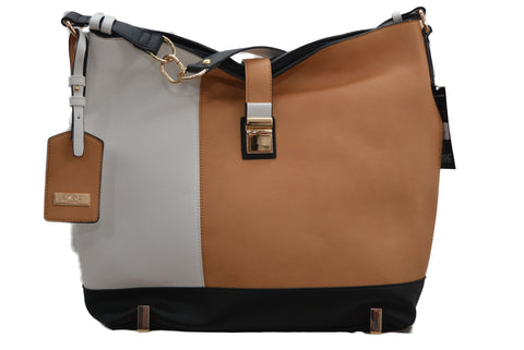 LYDC Tote Bag in Brown/Cream/White