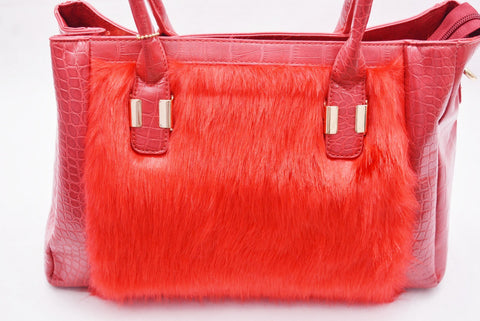 Croc Effect Faux Fur Red by LYDC