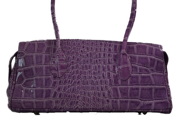 Grab Bag Purple Italian Leather Handbag