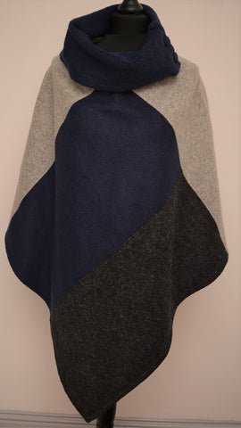 Handmade in Dublin 100% Wool Poncho in Blue Trio Design