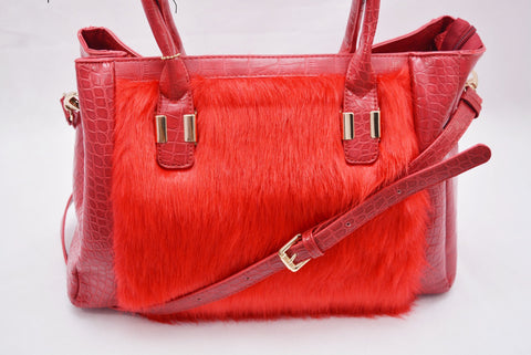 Faux Fur Croc Effect by LYDC in Red