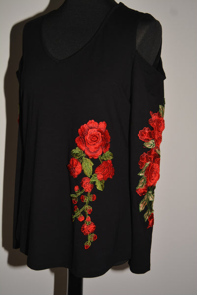 Cold Shoulder Top Rose Embellished