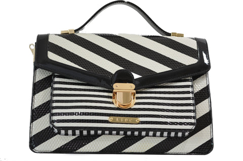 Black & White Stripe Handbag by LYDC