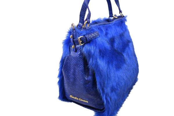 Slouch Shoulder Bag in Blue Faux Fur by Claudia Canova