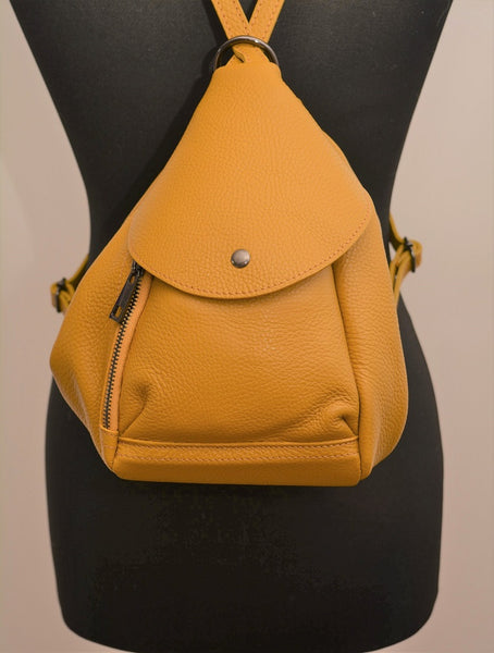 Autumn Mustard Leather Backpack