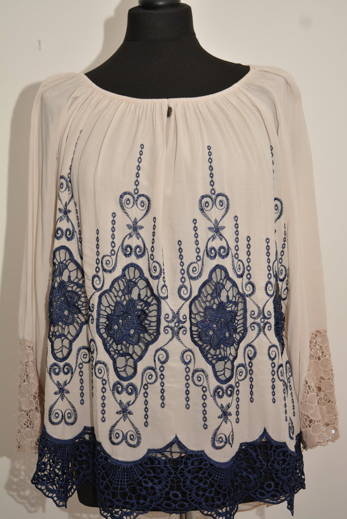 Cream Bardot with Navy Detail Top