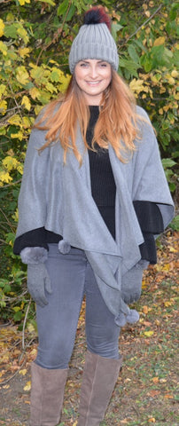 'Wrap in Grey with Pom Pom Design