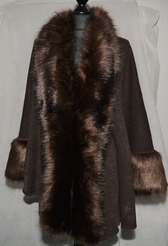 Faux Fur Jacket Cape Style in Caffe