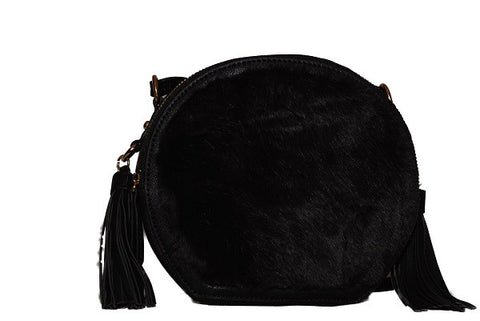 LYDC Black Faux Fur Crossbody