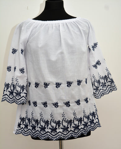 White Gypsy Top with Navy Embroidery