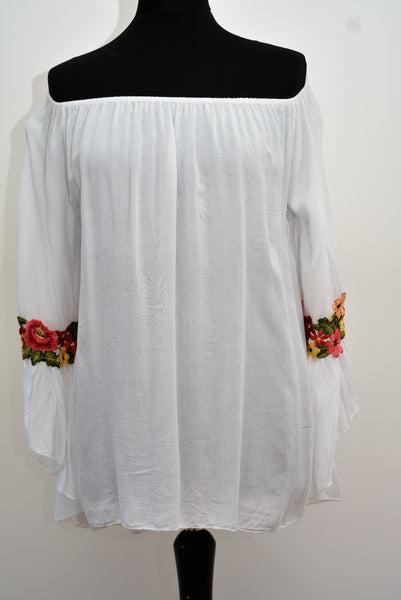 Floral Applique Bell Sleeves Top