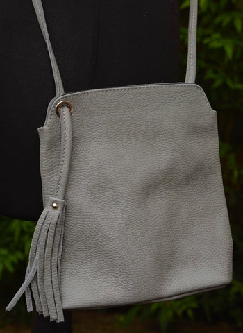 Light Grey Leather Crossbody