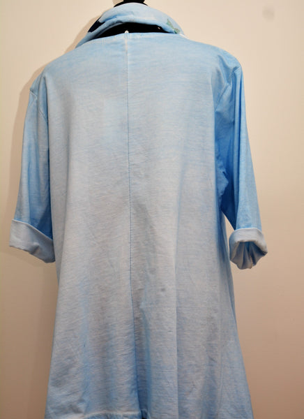 Star Pocket Top in Light Blue