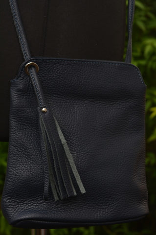 Leather Crossbody in Navy