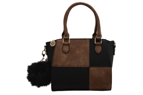 Tan & Black Block Pattern PU Leather Handbag