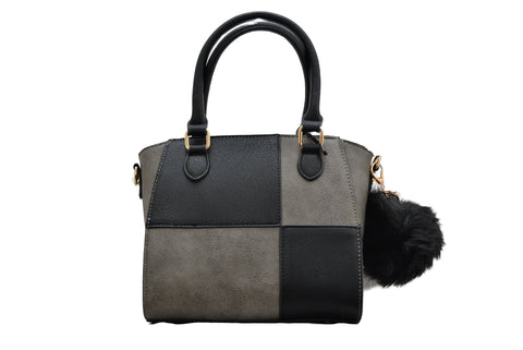 Black & Grey Block Pattern PU Leather Handbag