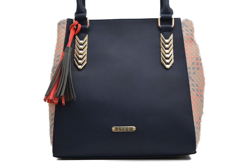 Navy Woven Design With Tassels by LYDC