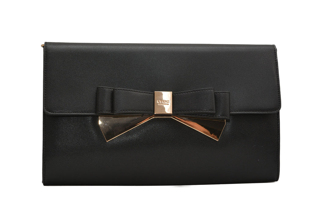 Classic Black Bow Clutch Bag by LYDC