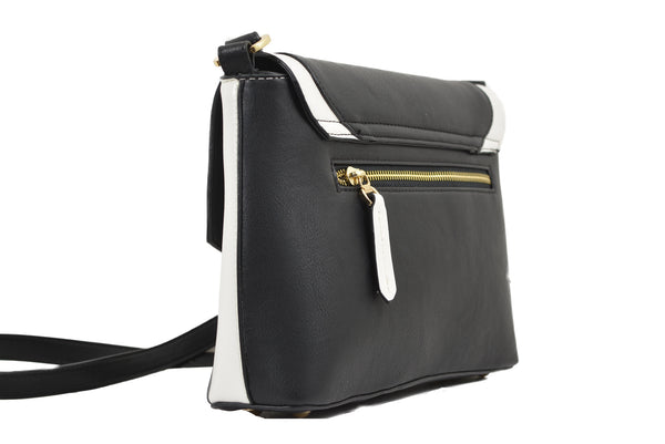 White Edge Shoulder Bag in Black