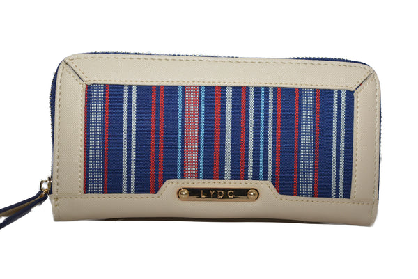 Cream & Blue Stripe Purse by LYDC