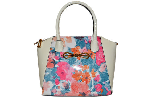 Floral Bow Cream Patent Handbag