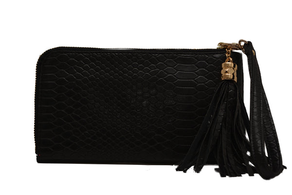 Small Croc Print Leather Clutch by Claudia Canova